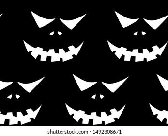 Seamless pattern with halloween carved jack faces silhouettes on black background. Can be used for scrapbook digital paper, textile print, page fill. Vector illustration