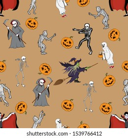 Seamless Pattern with Halloween Characters Costume on Brown background