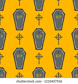 Seamless pattern. Halloween pattern with coffins and cross. Perfect for prints, flyers, banners, invitations, greeting scrapbooking, congratulations and more.Vector Halloween illustration.