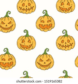 Seamless pattern with Halloween colored icons.  Pumpkin Jack, witch hat, broom, hat, sweets, candy roots, coffin, pot with potion in sketch style.