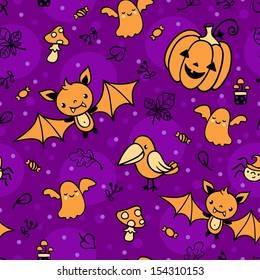 Seamless pattern with halloween decorations.