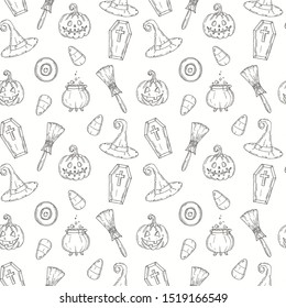 Seamless pattern with Halloween icons.  Pumpkin Jack, witch hat, broom, hat, sweets, candy roots, coffin, pot with potion in sketch style.