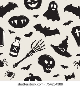 Seamless pattern with Halloween illustrations: ghosts, skulls, spiders, bats, witch hats, coffin, vampire lips, pumpkins, bones, treats. Fantastic spooky doodles. Stylish vector background for any use