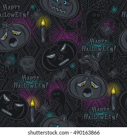 Seamless Pattern with Halloween objects on blackboard, vector