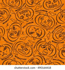 Seamless Pattern with Halloween objects on orange background, vector
