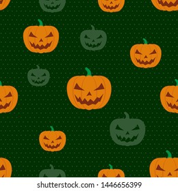 Seamless pattern halloween pumpkin dark green background