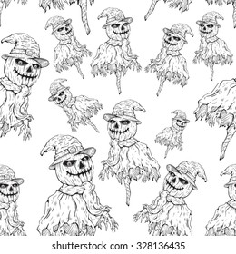 horror heads collection hand drawings converted stock vector