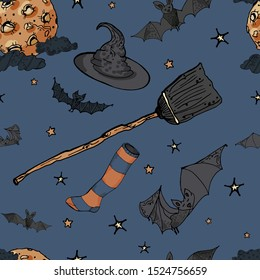 Seamless pattern with Halloween symbols: witches hat, sock and broom, moon, bats, stars on blue background.