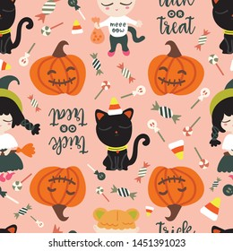 "Seamless pattern of halloween theme. Cute girls in halloween costume with black cats, corn candy, Jack-o'-lantern and lettering of ""trick or treat""."
