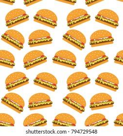 Seamless pattern with Hamburger fast food