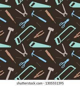 Seamless Pattern Hammer Saw Carpentry Construction Tools