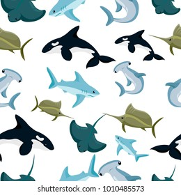 Seamless pattern of hammerhead and blue shark sphyrna manta orca vector illustration on white background website page and mobile app design.