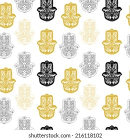 Seamless pattern with hamsa hand. Used for wallpaper, pattern fills, web page background,surface textures.