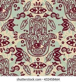 Seamless pattern with hamsa symbols, tribal tiled ornament, vector illustration