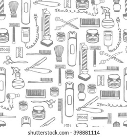 Seamless pattern of hand dawn barbershop equipment. Hand drawn lettering ink. White on blue background