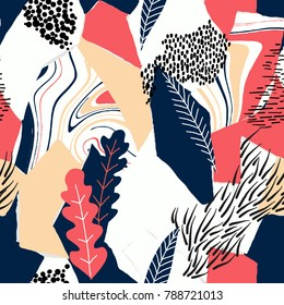 Seamless pattern, hand drawn abstract shape and plants on white background, red and blue tones