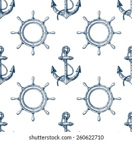 Seamless pattern with hand drawn anchors and steering wheels