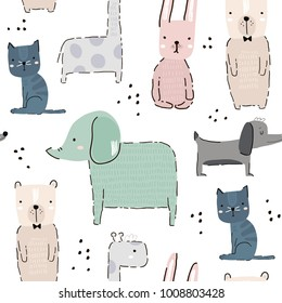 Seamless pattern with hand drawn animal. Creative childish background. Perfect for kids apparel,fabric, textile, nursery decoration,wrapping paper.Vector Illustration