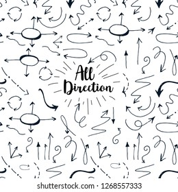 Seamless pattern, hand drawn arrows