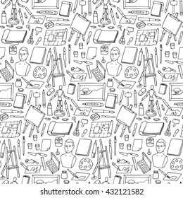 Seamless pattern with hand drawn art objects and elements on white background