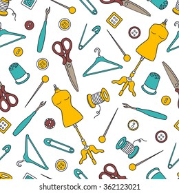 Seamless pattern with hand drawn atelier icons. Sewing tools collection, colorful background vector. Fashion illustration, profession clothier. Decorative wallpaper, good for printing