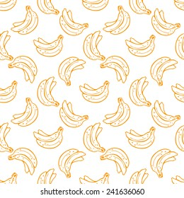Seamless pattern with hand drawn bananas.