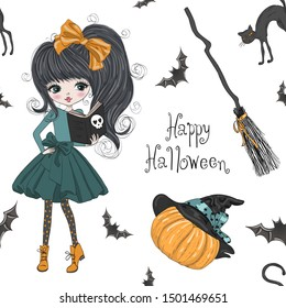 Seamless pattern with hand drawn beautiful cute Halloween girl witch with pumpkin, cat and broom. Vector illustration.