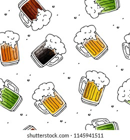 Seamless pattern with hand drawn beer mugs on white background. Design element for fabric or gift wrap.