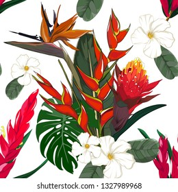 seamless pattern of hand drawn bird of paradise  and bromeliad stalk with white flower element in vector illustration