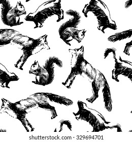 Seamless pattern with hand drawn black and white images of animals: fox, skunk and squirrel on white background. Vector illustration
