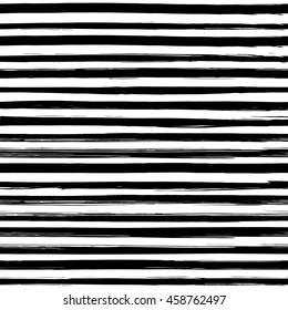 Seamless pattern with hand drawn black and white stripes. Monochrome striped background can be printed on textile, wrapping paper, greeting card, etc. Vector illustration. EPS10