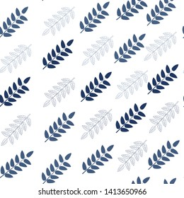 seamless pattern of hand drawn blue leaves