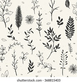 Seamless pattern with hand drawn branches. Elegant floral vector background.