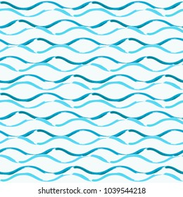 Seamless pattern with hand drawn brush waves. Repeating texture for background.