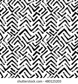 Seamless pattern with hand drawn brush strokes. Ink illustration. Geometric pattern for wrapping paper. Monochrome design.