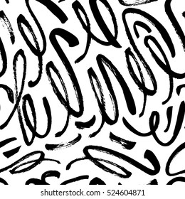 Seamless pattern with hand drawn brush strokes. Ink illustration. Isolated on white background. Hand drawn black elements.