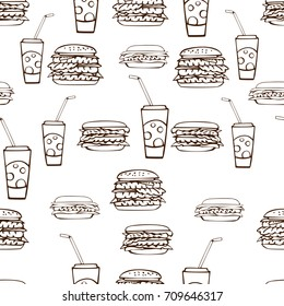 Seamless pattern with hand drawn burgers and soda water with straws.  Brown on white. Linear drawing. Vector illustration