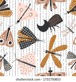 Seamless pattern with hand drawn butterflies, mothes and rhinoceros beetle. Creative for fabric, wrapping, textile, wallpaper, apparel. Vector illustration in brown colors.