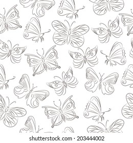 Seamless pattern with hand drawn butterflies. Vector illustration.