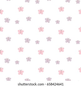 Seamless Pattern of Hand Drawn Butterflies on White Background