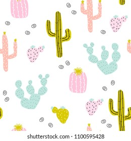Seamless pattern with hand drawn cactus. Cute colorful print. Vector illustration.