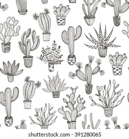 Seamless pattern with hand drawn cactus in a pot. Hand drawn ornament for wrapping paper. Outlines elements. Ink illustration. Collection of cacti.