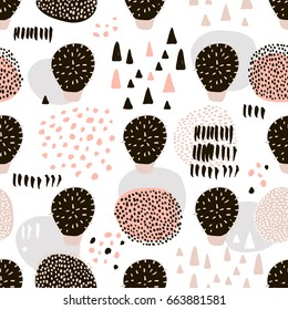 Seamless pattern with hand drawn cactus. Hand drawn texture and shapes made with brush. Great for fabric, textile Vector Illustration