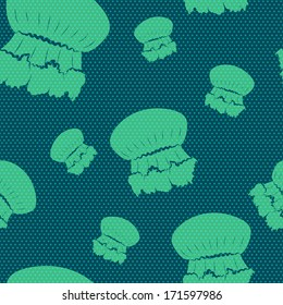 Seamless pattern with hand drawn cartoon jellyfish silhouettes on polka dot background.