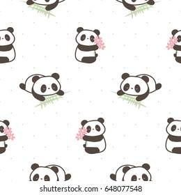 Seamless Pattern of Hand Drawn Cartoon Panda on White Background
