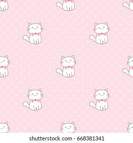 Seamless Pattern of Hand Drawn Cartoon Cat on Pink Background with Hearts