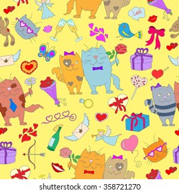 Seamless pattern with hand drawn cats and icons on the theme of Valentine's day on a yellow substrate