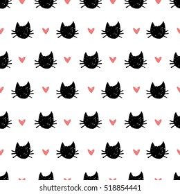 seamless pattern with hand drawn cats and hearts