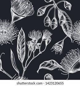 Seamless pattern with hand drawn chalk eucalyptus flower