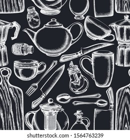 Seamless pattern with hand drawn chalk Chef's knifes, teaspoon, spoon, fork, knife, cutting board, bottle of oil, teapots, coffee pot, cups, sugar bowl, pepper shaker, salt shaker